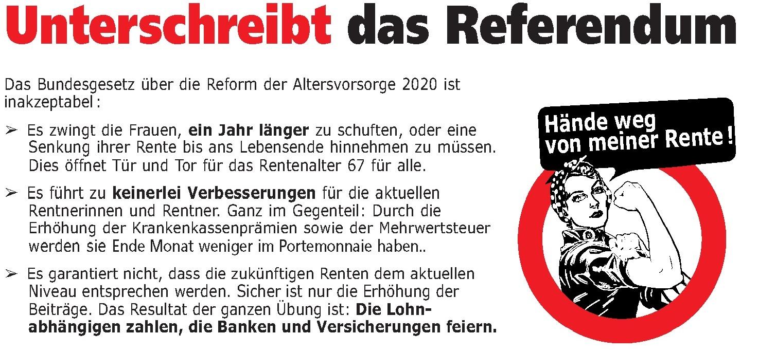 Referendum gegen die AHV-Revision unterschreiben!